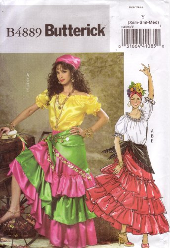 Butterick Sewing Pattern B4889 Misses Flamenco, Calypso, or Gypsy Costume