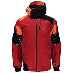 Spyder Leader Mens Insulated Ski Jacket - Small/Volcano-Black-Bryte Orange