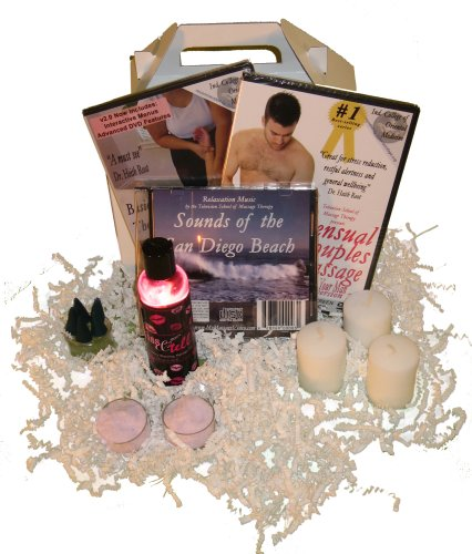 The For Him Massage Gift Basket: Sensual Man's Massage DVD / Sports Massage for Men , Oil, Relaxation Music, Candles, Incense (2 DVD/1 Oil/1 CD)