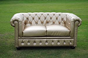 Gold Bycast Leather Chesterfield Diamante 2 Seater Setee sofa by Chesterfield