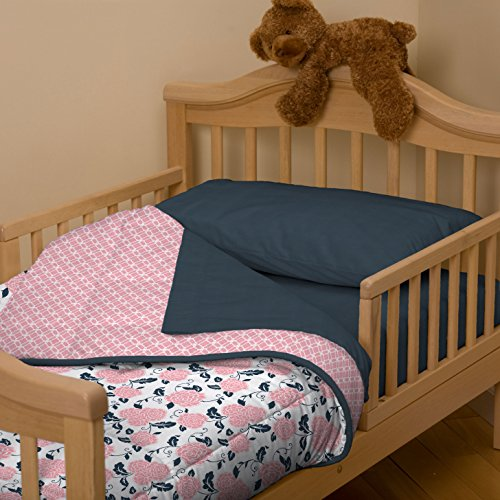Carousel Designs Coral And Navy Floral Toddler Comforter
