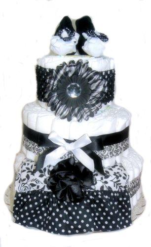 Bella Donna Baby Shower Diaper Cake (Black and White)
