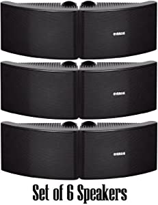 Yamaha All Weather Outdoor / Indoor Wall Mountable Natural Sound 120 watt 2 way Acoustic Suspension Speakers - Set of 6 - Black - with 100ft 16 AWG Speaker Wire - Compatible with All Audio / Video Home Theater Sound Systems, Components, CD Players, or Rec