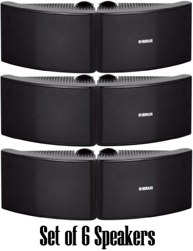 Yamaha All Weather Outdoor / Indoor Wall Mountable Natural Sound 180 Watt 2 Way Acoustic Suspension Speakers - Set Of 6 - Black - With 100Ft 16 Awg Speaker Wire - Compatible With All Audio / Video Home Theater Sound Systems, Components, Cd Players, Or Rec
