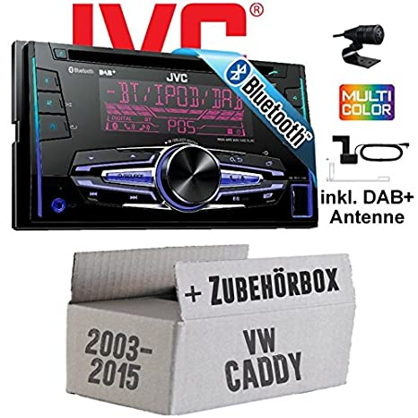 VW Caddy 2K - JVC KW-DB92BT - 2DIN USB Bluetooth DAB+ Autoradio inkl. DAB+ Antenne - Einbauset