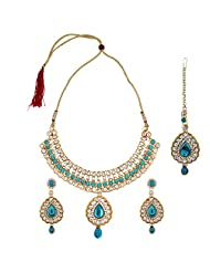 Fashionaya Blue Stone Necklace Set