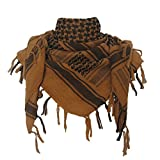 Explore Land 100% Cotton Military Shemagh Tactical Desert Keffiyeh Scarf Wrap (Coyote Brown)