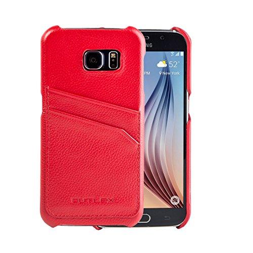 Samsung Galaxy S6 Custodia, FUTLEX Custodia realizzato in vera pelle - Rosso - con fessure per carte - Ultra sottile - Design e taglio preciso - realizzato a mano