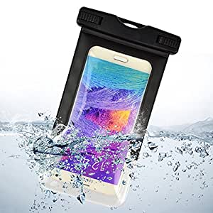 Sumaclife Waterproof Snowproof Dirtproof Pouch Bag Case with Touch Responsive Front and Transparent Screen Protector Windows for iPhone 6 plus / Samsung Galaxy Note 4 / Note Edge / Note 3 /LG G3 / BLU Studio 5.5 D610a / Microsoft Lumia 640 XL (Black)