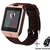 Dz09 Bluetooth Smart Watch All in one, Unlocked Watch Cell Phone, Bluetooth wach for Iphone and Android phones Samsuny Galaxy Note ,TCL, ZTE ,Sony, LG.for Mens and Women (gold-brown) (Color: gold-brown)