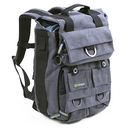 Evecase Canvas DSLR Travel Camera Backpack w/Laptop Compartment & Rain Cover -Gray