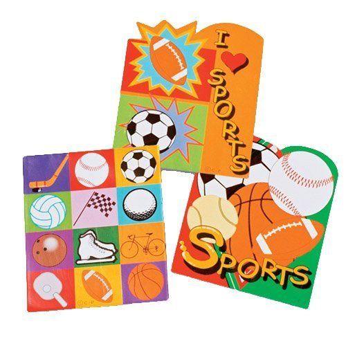 Dozen Assorted Sports Theme Mini Memo Notepads - 4""
