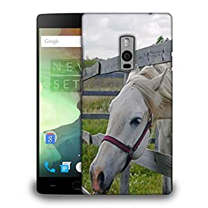 Snoogg White Horse Printed Protective Phone Back Case Cover Fpr OnePlus One / 1+1