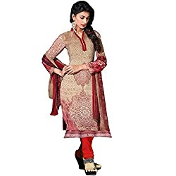 Shelina cream crepe digital printed salwar suit