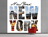 WTD Fleece Wall Mural New York Impressions Wallpaper, Fleece Mural, Usa, America, Manhattan, Skyscraper, Statue Of Liberty, Big Apple - Size: 3XL - 388x388cm - 4 parts