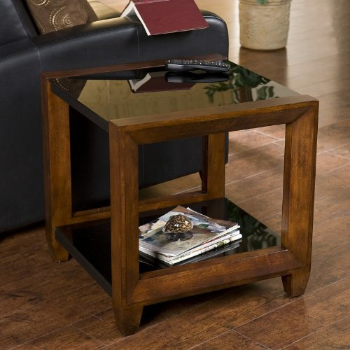 Cheap End Table with Black Glass Top and Cherry Finished Arms (CK8052)