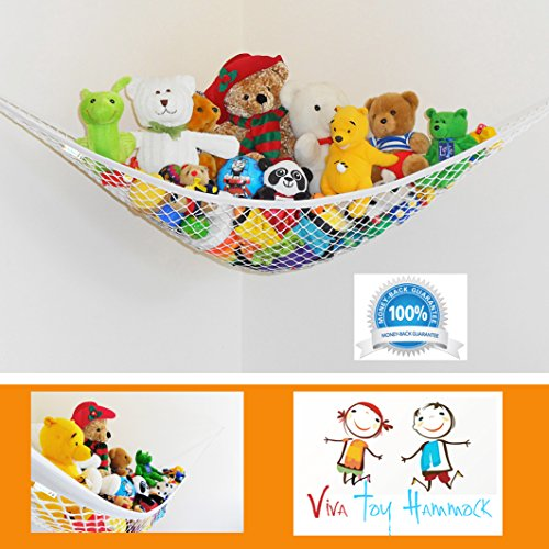 Viva Jumbo Toy Hammock Organizer - Space Saving Corner Wall Storage For Stuffed Animals - Teddies - Dolls - Balls - Bedding - Gear - Stretches 72 x 48 x 48 Inches - Highest Quality - Neutral White To Suit Any Décor - 100% Satisfaction Guarantee