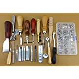 Leather Craft Hand Sewing Tool Set Kit Stitch Groover Punch Awl mental Snap Fasteners/Popper Press Stud Sewing