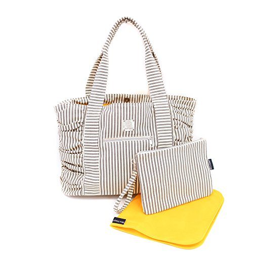 Bella Tunno Gathered Tote Classic Canvas Baby Bag, Grey Stripe