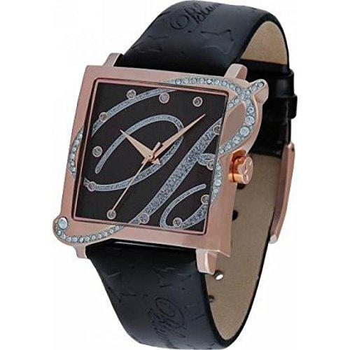 blumarine-womens-bm-clock3117l-08s-quartz-rechargeable-quandrante-steel-black-leather-strap