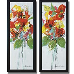 Sensations I & II by Natasha Barnes 2-pc Premium Satin-Black Framed Canvas Set (Ready to Hang)