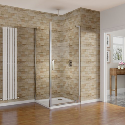 900 x 900 mm Pivot Shower Door Enclosure with Easy Clean Glass Side Panel Set