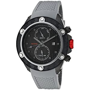 red line Men's 10118 Carbon Brake Dual Time Black Dial Grey Silicone Watch