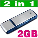 Mini 2GB Flash 2 in 1 Memory Stick USB Keychain Sensitive Digital WAV Voice Sound Audio Recorder 2 G