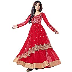 Awesome Fab Women's Georgette Semi-Stitched Dress Material (RIYA_RED_Red_Free Size)