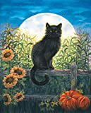 "Harvest Moon Cat Fall Garden Flag Black Cat Halloween Autumn 12.5"" x 18"""