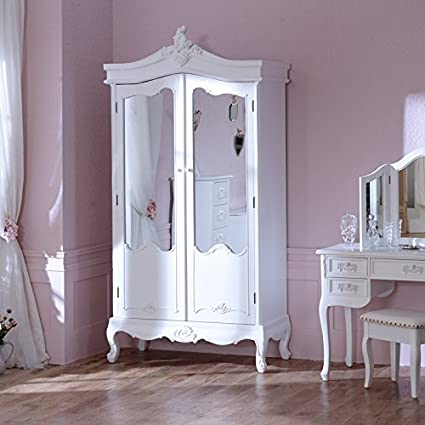Bianco Anticato A Specchio Armadio doppio-Paga Blanc Gamma