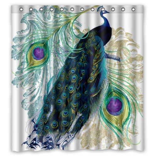 Custom Waterproof Fabric Bathroom Shower Curtain Peacock 66