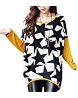 DJT Femme T-shirt Imprime Manches longues Blouse Taille Loose Pull-over Stretch