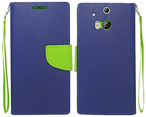 Mylife Navy Blue And Lime Green {Flat Color Design} Faux Leather (Card, Cash And Id Holder + Magnetic Closing) Slim Wallet For The All-New Htc One M8 Android Smartphone - Aka, 2Nd Gen Htc One (External Textured Synthetic Leather With Magnetic Clip + Inter