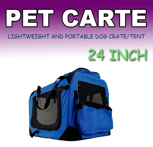 New Medium Dog Pet Puppy Portable Foldable Soft Crate Playpen Kennel House -Blue front-708592