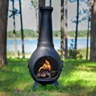 The Blue Rooster Cast Aluminum Prairie Chiminea in Charcoal