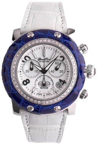 Glam Rock GR10116D1 - Reloj cronógrafo de cuarzo para mujer, correa de cuero color blanco