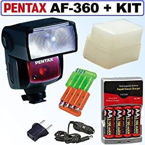 Pentax AF-360 FGZ Autofocus P-TTL Shoe Mount Flash + Accessory Kit