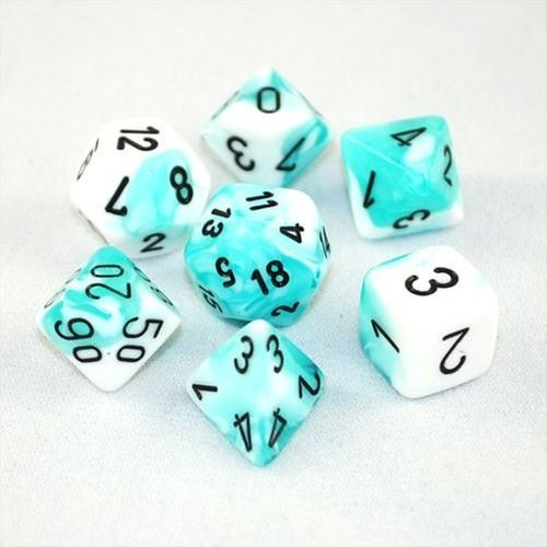 Chessex Dice: Polyhedral 7-Die Gemini Dice Set - Teal & White w/Black CHX-26444