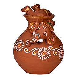 ExclusiveLane Terracotta Handpainted Matki Inside Out Baby Ganesha / Ganesha Idol Show Piece
