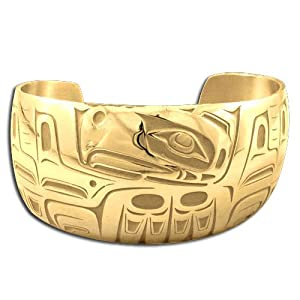 14K Yellow Gold Northwest Coast Native American Wide Eagle Bracelet. Made in USA.