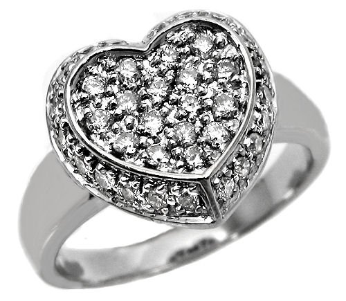.90Ct Round Pave Diamond Heart Ring14K White Gold