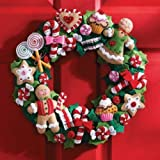 "Bucilla Cookies & Candy Wreath Felt Applique Kit-15"" Round"
