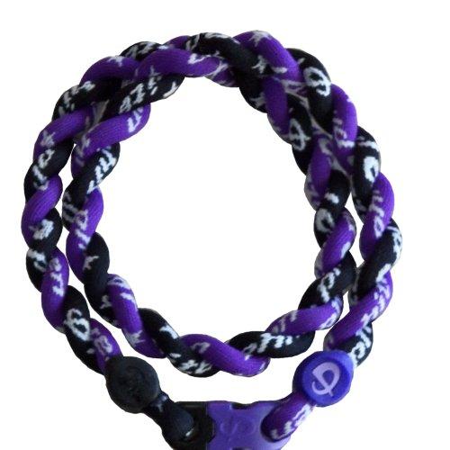 Phiten Custom Tornado Necklace - Purple with Black 18