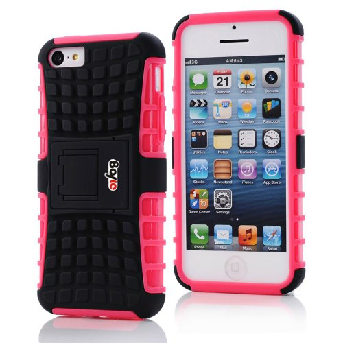 Bayke Brand / Apple Iphone 5 & Iphone 5S 2-Piec Dual Layer Tire Tread Combo Heavy Duty Rugged Matte Skidproof Hard Protective Case Cover With Kickstand (Hot Pink Tpu Inner)