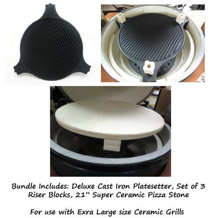 Pizza Bundle For Extra Large Ceramic Grill - Super Ceramic Pizza Stone, Riser Blocks And Deluxe Cast Iron Platesetter