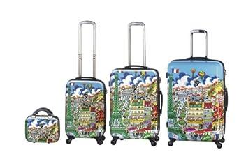 Charles Fazzino Luggage 4 Piece Set (Paris)