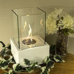 Sunnydaze White Cubic Ventless Tabletop Bio Ethanol Fireplace