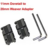 "Pair Picatinny/W 3/8"" 11mm Dovetail to 7/8"" 20mm Weaver Picatinny Rail Adapter Mount"