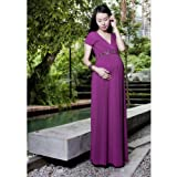 Annee Matthew Womens Size L Magenta Bianca Maxi Maternity Dress